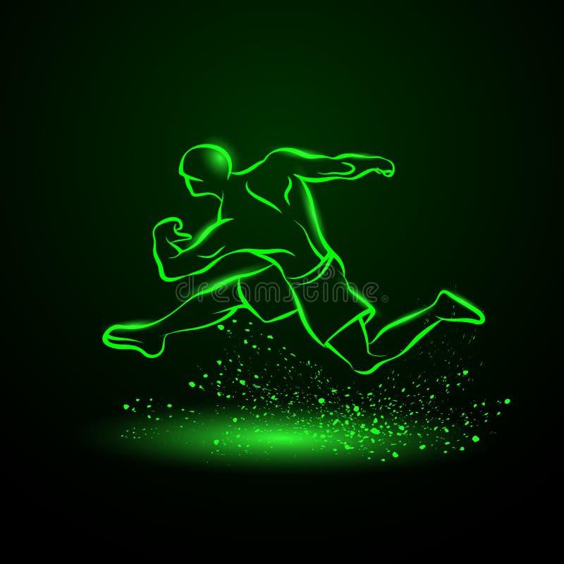 Forte corridore Siluetta al neon verde di un atleta corrente illustrazione di stock