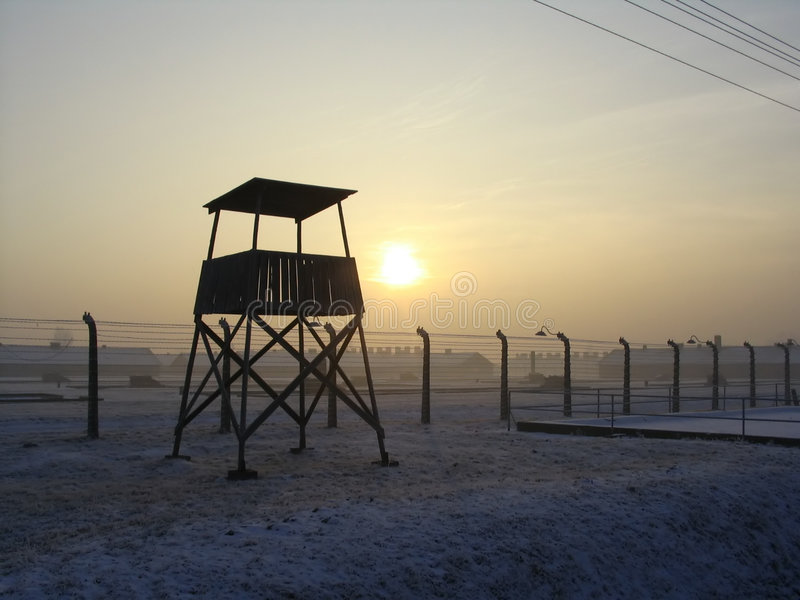 Forte da vigia em Auschwitz foto de stock royalty free