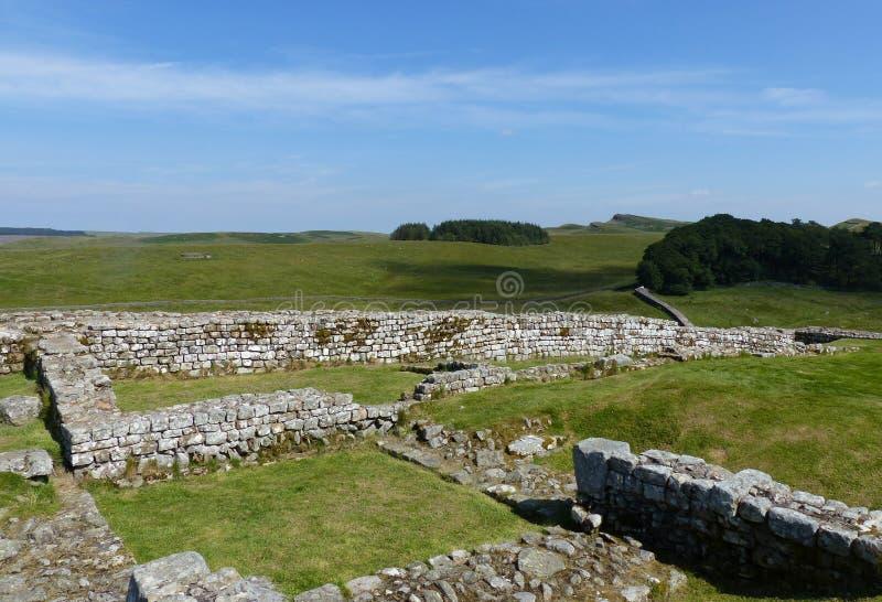 Forte de Housesteads e parede de Hadrian imagem de stock
