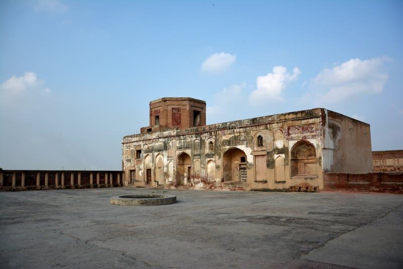 Forte de Lahore uma seção em Akbar Palace fotografia de stock