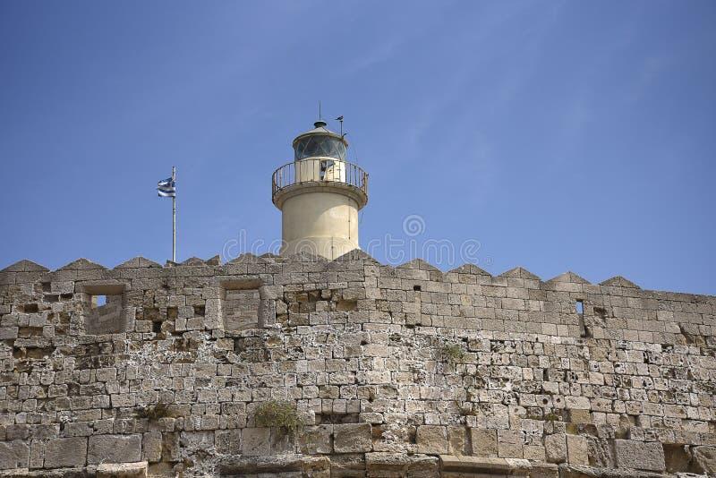Forte de St Nikolas no porto de Mandraki na ilha do Rodes fotografia de stock royalty free