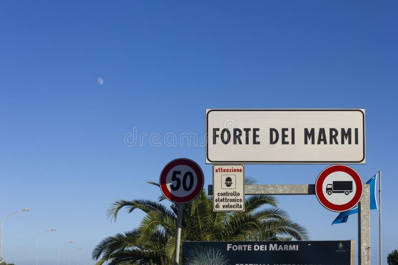 Forte dei Marmi city board in Italy, Tuscany royalty free stock image