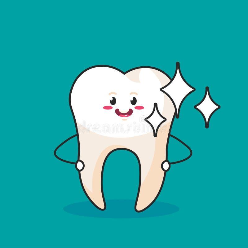 Forte dente sano isolato su fondo blu Personaggio dei cartoni animati per l'illustrazione di vettore di concetto di progetto di o illustrazione di stock