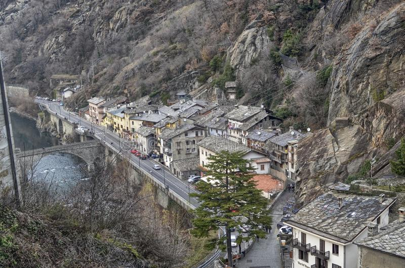 Forte Di Bard, Valle D ` Aosta gebied Italië stock afbeelding