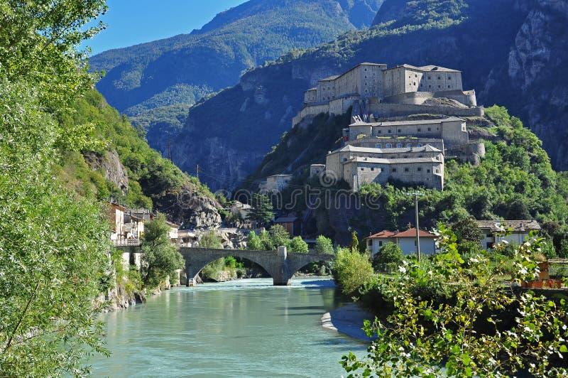 Forte Di Bard, Vallei Aosta stock foto's