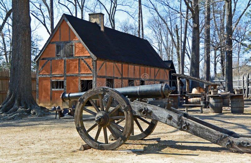 Forte do colono, pagamento de Jamestown, Williamsburg, Virgínia fotos de stock