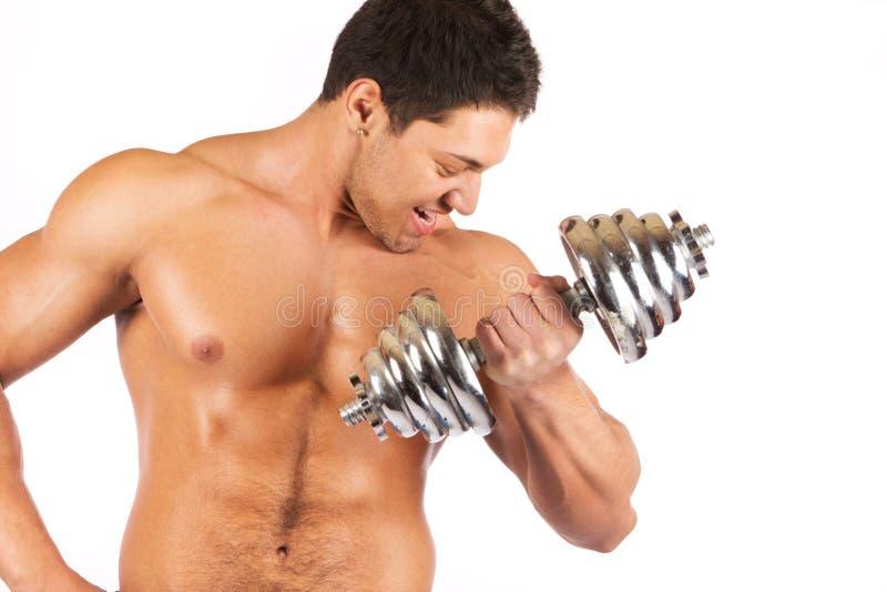 Forte dumbbell cromato dell'uomo holding muscullar fotografia stock