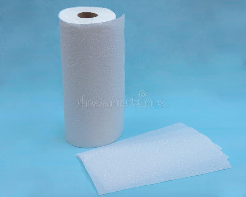 Forte ed asciugamano di carta assorbente molle isolato sul blu immagine stock
