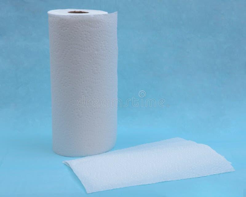 Forte ed asciugamano di carta assorbente molle isolato sul blu immagini stock libere da diritti
