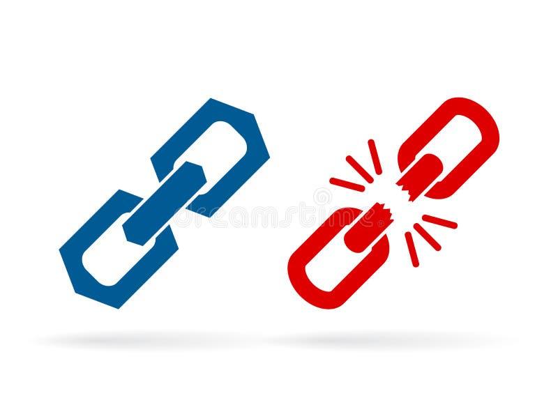 Forte ed icona debole di vettore del collegamento a catena illustrazione di stock
