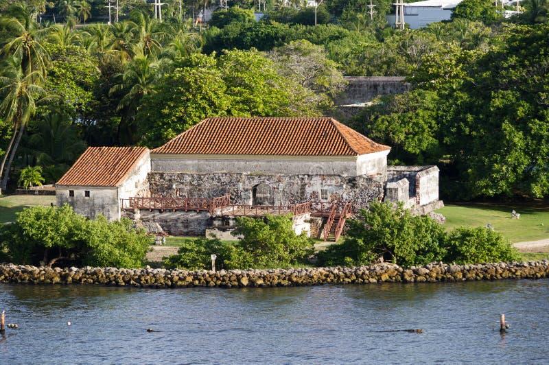 Forte espanhol velho no porto de Cartagena imagem de stock