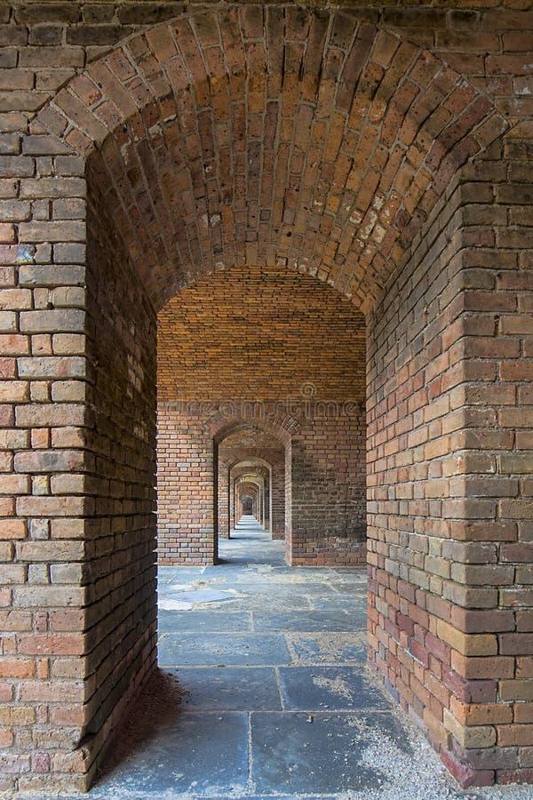 Forte Jefferson Upstairs Archways de Front Side 5 fotografia de stock