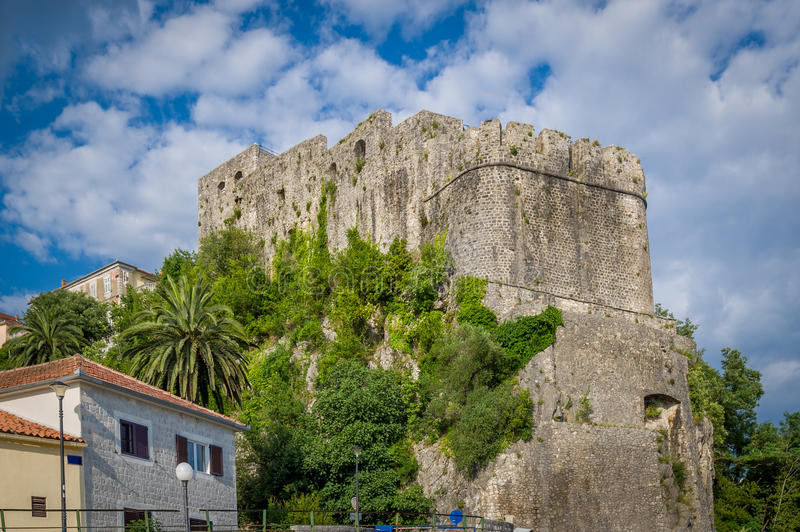 Forte Mare ancient fortress in Montenegro. Forte Mare ancient fortress walls. Popular touristic tour spot. Herceg Novi, Montenegro royalty free stock image