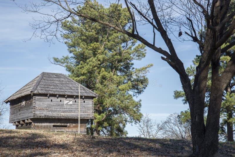 Forte millatary pioneiro velho da guerra, log, histórico, armas, cânone, fotografia de stock