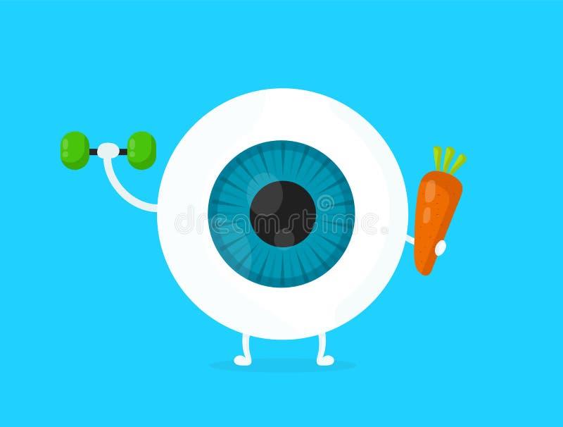 Forte occhio bianco sano, bulbo oculare illustrazione vettoriale