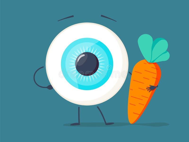 Forte occhio bianco sano, bulbo oculare che fa gli esercizi con le teste di legno ed il carattere della carota Illustrazione pian royalty illustrazione gratis