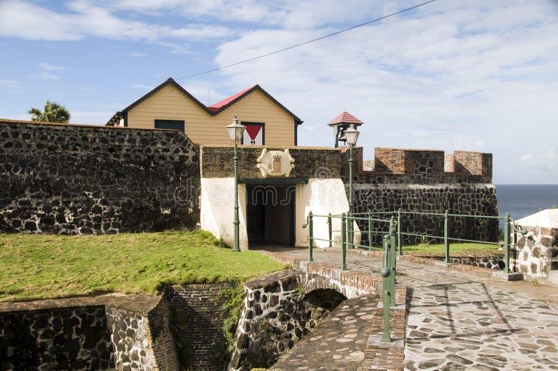 Forte Oranje Oranjestad Sint Eustatius do pátio imagens de stock royalty free