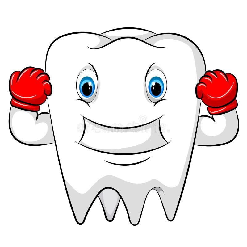 Forte personaggio dei cartoni animati del dente con i guanti rossi royalty illustrazione gratis