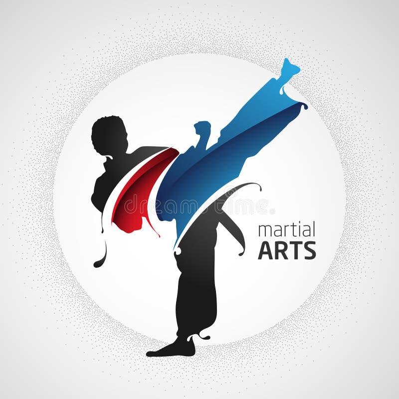 Forte siluetta di scossa di arti marziali illustrazione di stock