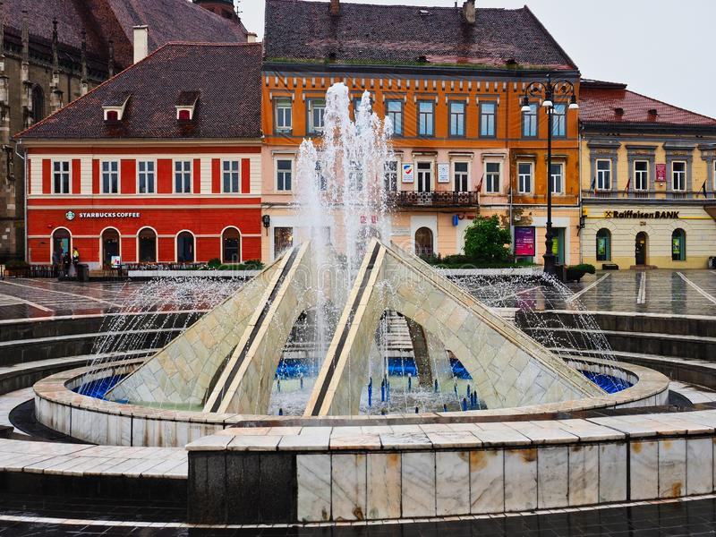 Forte tempête de pluie, Brasov, Roumanie photos stock