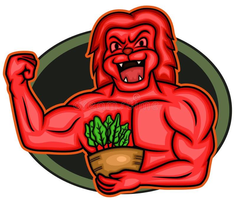 Forte vegano muscolare Lion Bodybuilder Cartoon illustrazione vettoriale