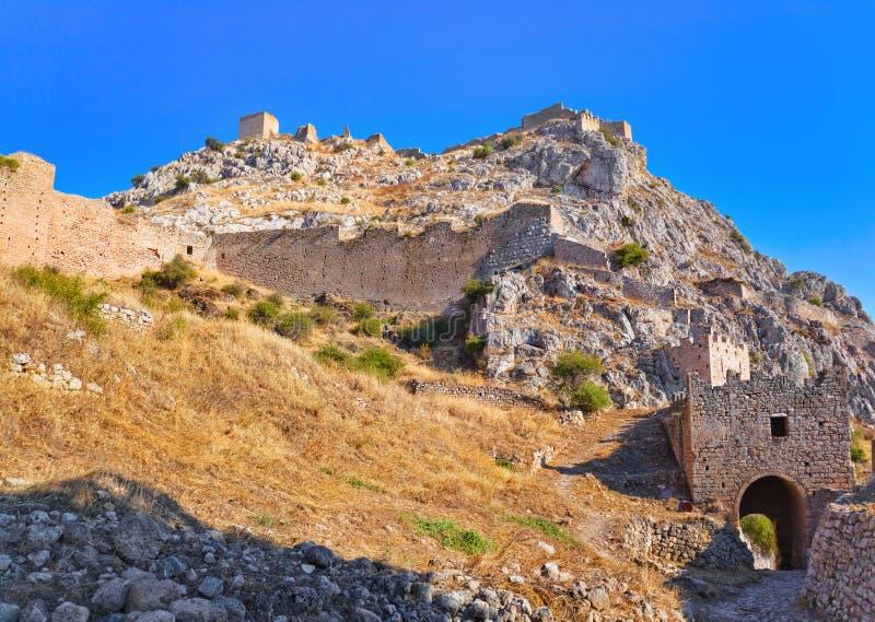 Forte velho em Corinth, Greece fotografia de stock