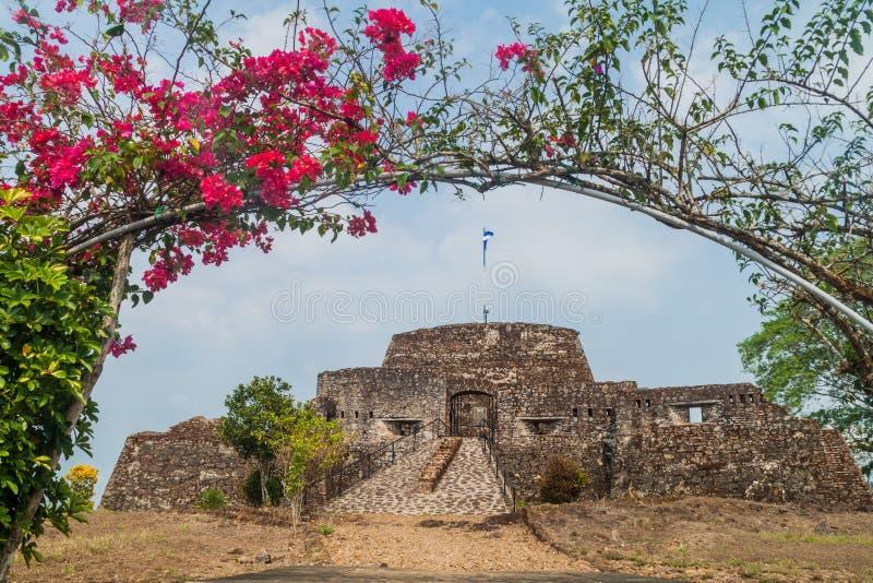 Forteca Niepokalany poczęcie w wioski Ell Castillo przy San Juan rzeką, Nicarag obraz royalty free