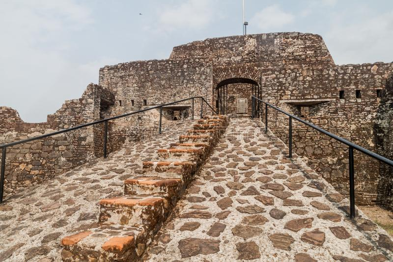 Forteca Niepokalany poczęcie w wioski Ell Castillo przy San Juan rzeką, Nicarag zdjęcia stock