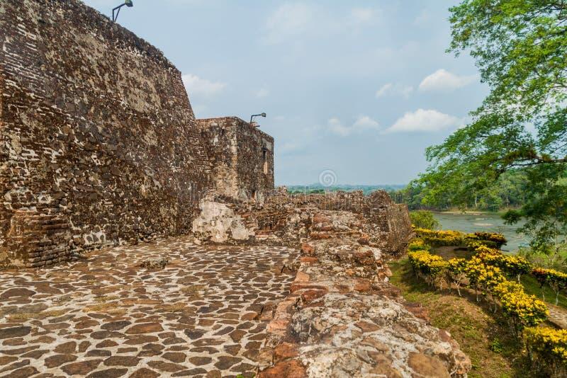 Forteca Niepokalany poczęcie w wioski Ell Castillo przy San Juan rzeką, Nicarag obrazy stock
