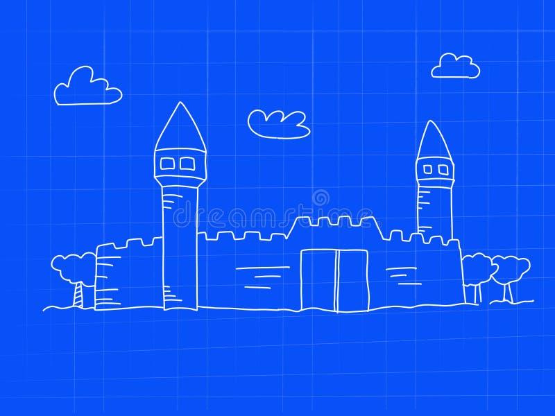 Forteca z basztową projekta pojęcia doodle sztuką - wizerunek ilustracja royalty ilustracja