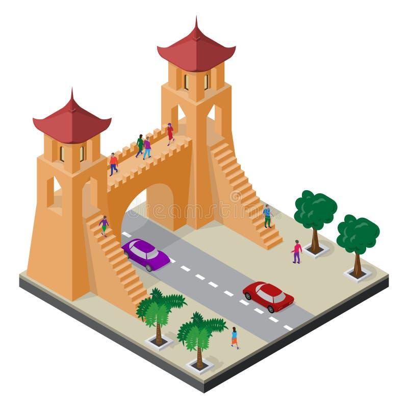 Forteczna brama, drzewa, jezdnia, samochody i ludzie, Isometric wschodni Asia pejza? miejski ilustracja wektor