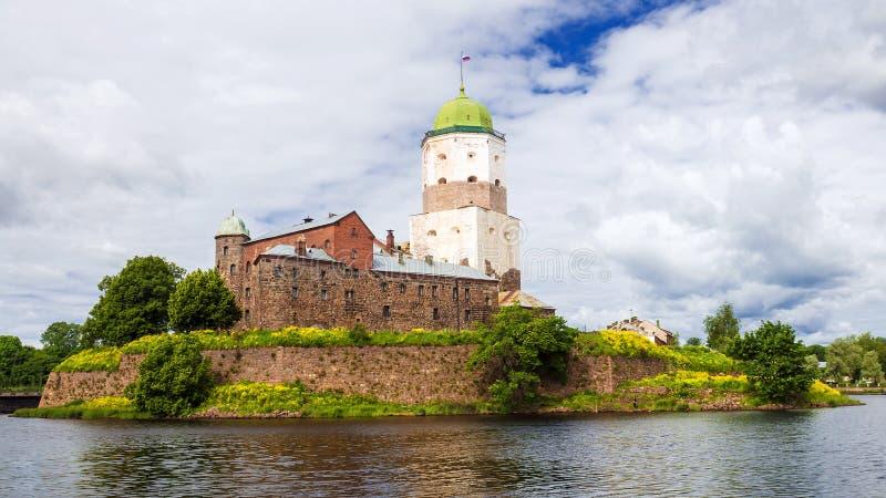 Forteczne ściany stary Vyborg, Rosja fotografia stock