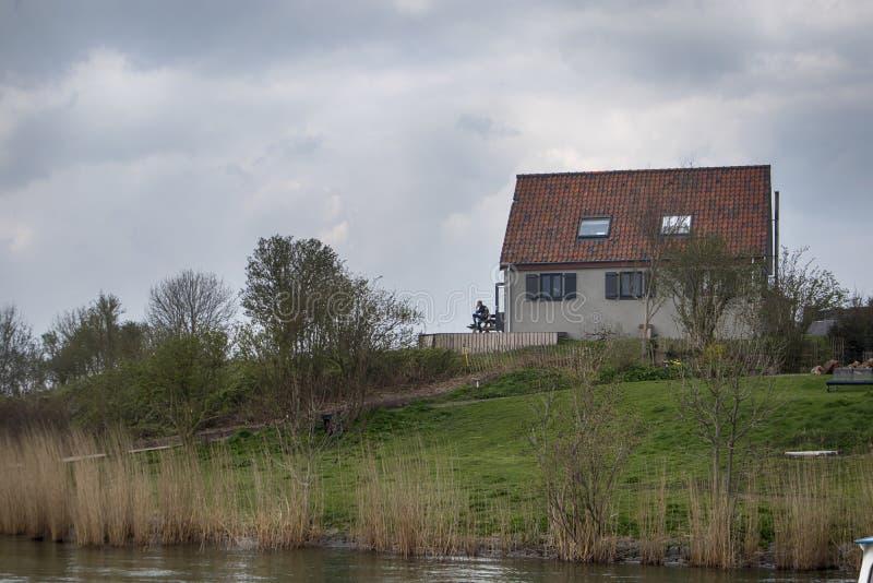 Forteiland Pampus o isola di Pampus della fortificazione, isola artificiale nel IJmeer, provincia dell'Olanda Settentrionale, Pae fotografia stock libera da diritti