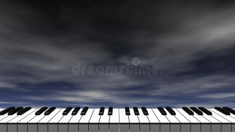 Fortepianowa klawiatura przed zmrokiem - niebieskie niebo royalty ilustracja