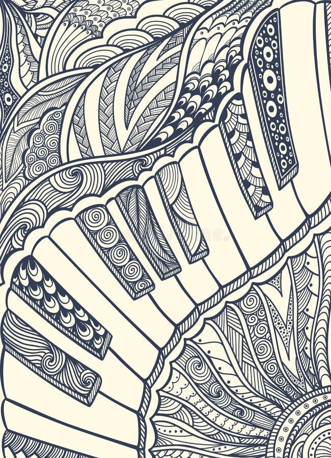 Fortepianowa klawiatura z gmatwanina ornamentu czernią na bielu ilustracja wektor