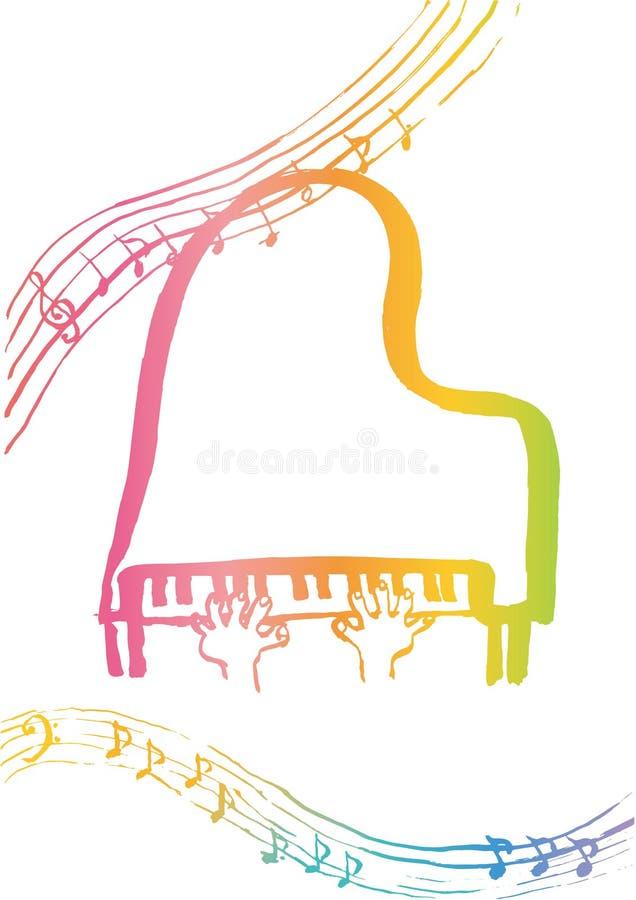 Fortepianowa lekcja dla dzieciaków royalty ilustracja