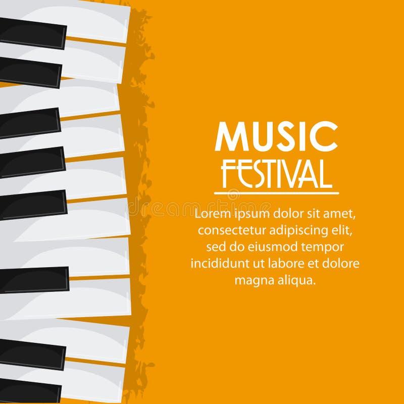 Fortepianowego muzyka dźwięka festiwalu medialna ikona gdy dekoracyjna tło grafika stylizował wektorowe zawijas fala ilustracja wektor