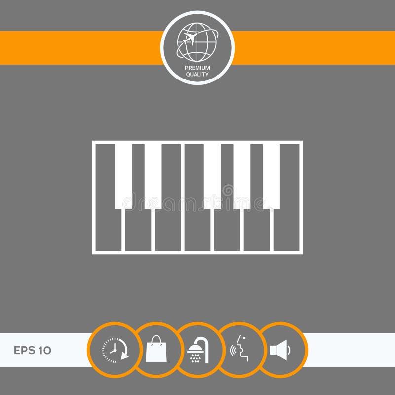 Fortepianowej klawiatury ikona ilustracja wektor