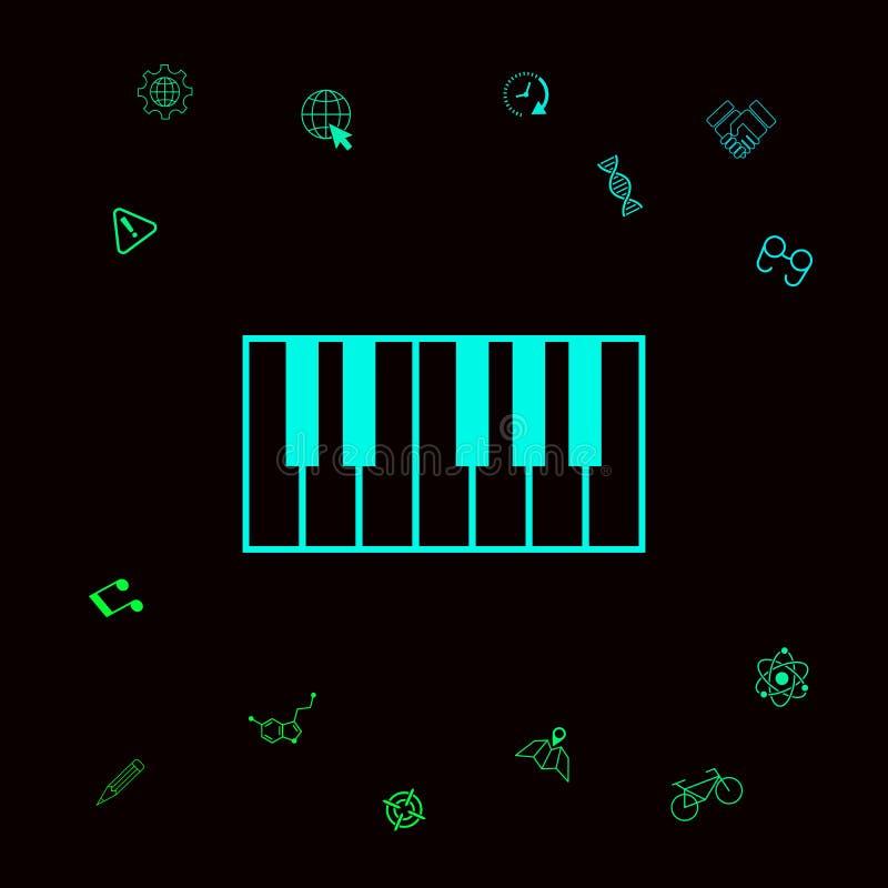 Fortepianowej klawiatury ikona Graficzni elementy dla twój designt ilustracja wektor