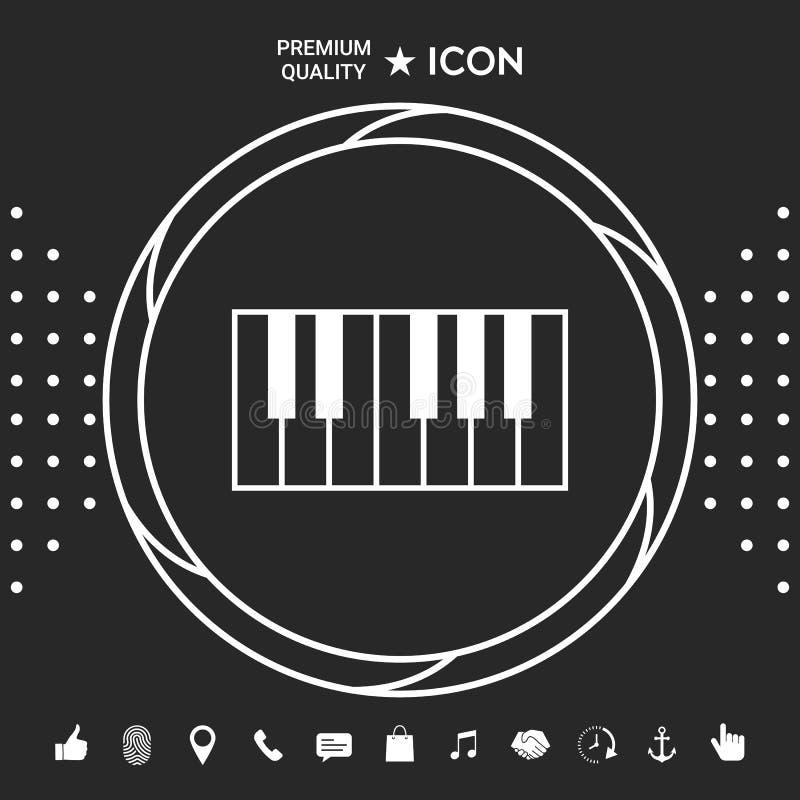 Fortepianowej klawiatury ikona Graficzni elementy dla twój designt royalty ilustracja