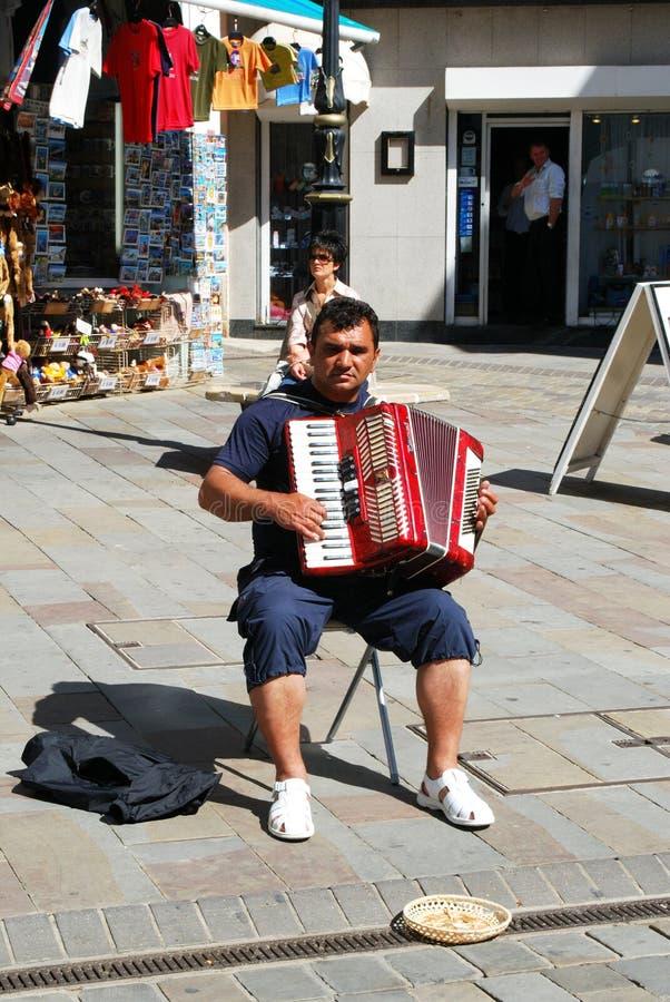 Fortepianowy akordeonista, Gibraltar zdjęcia stock