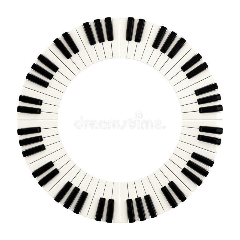 Fortepianowy klucza okrąg, 3d ilustracji