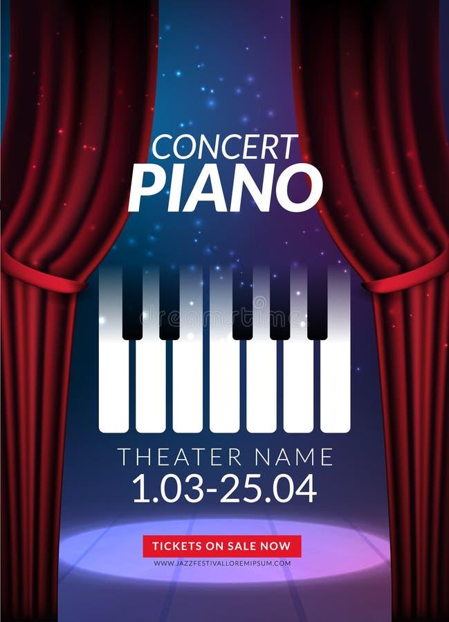 Fortepianowy muzyka koncerta tło Muzykalny ilustracyjny plakat royalty ilustracja