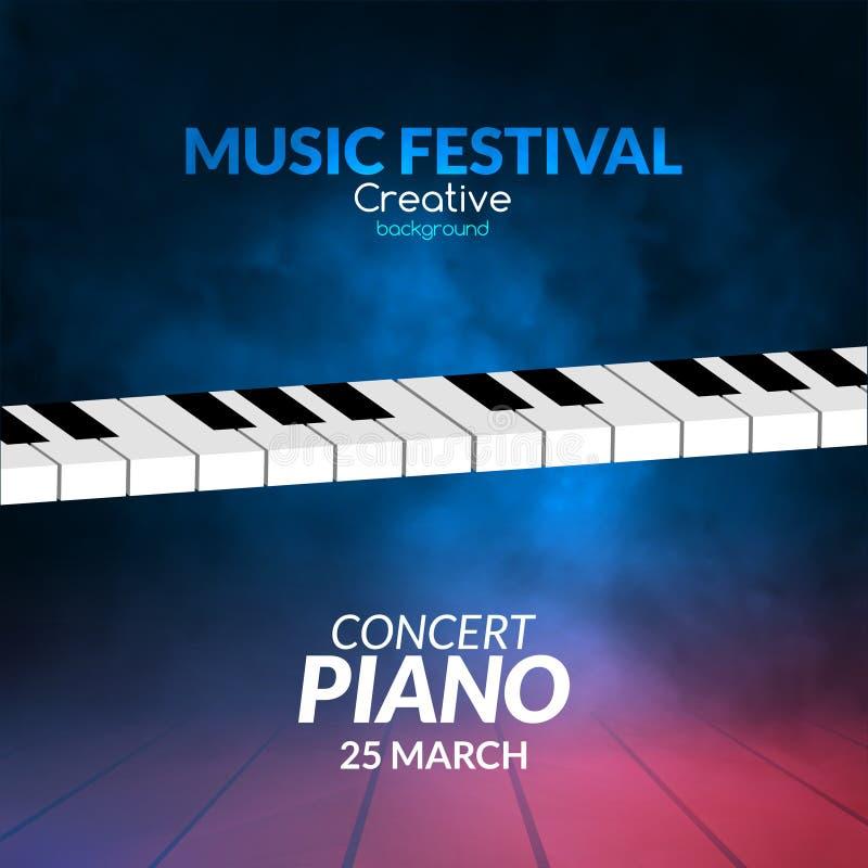 Fortepianowy muzyka koncerta tło Muzykalny ilustracyjny plakat Wektorowy klasyczny instrumentu dźwięka pojęcie ilustracji