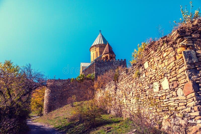 Forteresse antique Ananuri dans le pays de la Géorgie images libres de droits