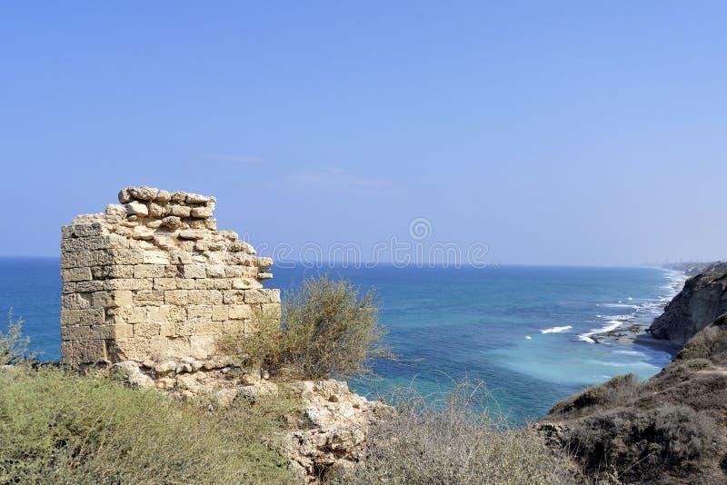 Forteresse d'Apollonia près de Tel Aviv photos libres de droits