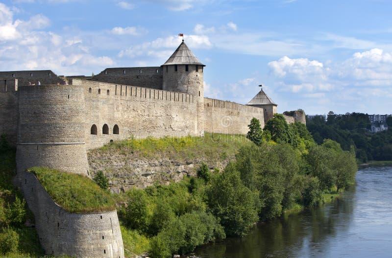 Forteresse d'Ivangorod au cadre de la Russie et d'Estonia photos stock