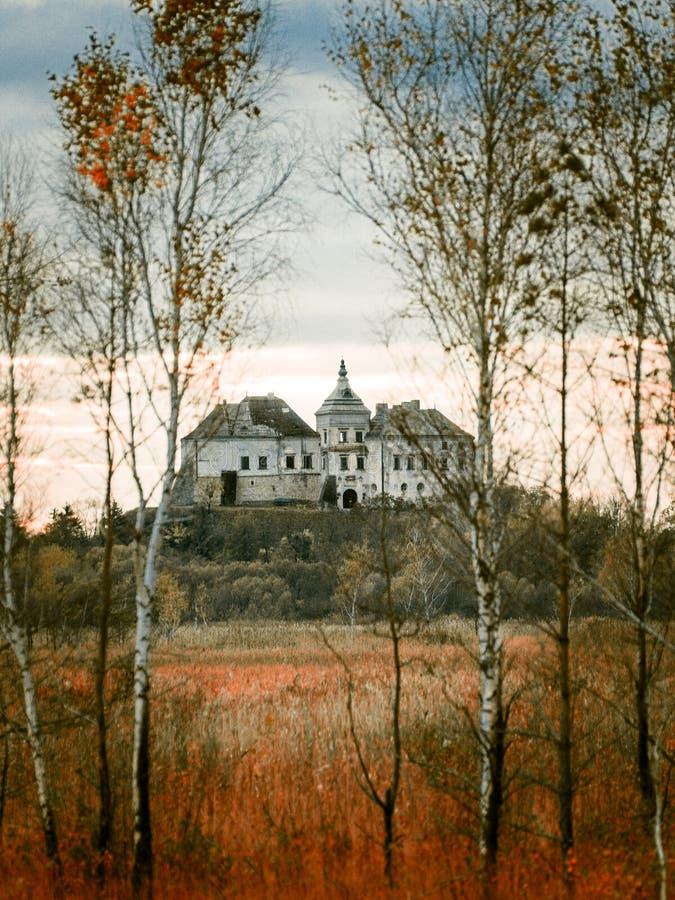 Forteresse d'Olesko sur le dessus de la colline, région de Lviv, Ukraine photographie stock libre de droits