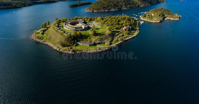 Forteresse d'Oscarsborg dans Oslofjorden, Norvège photographie stock