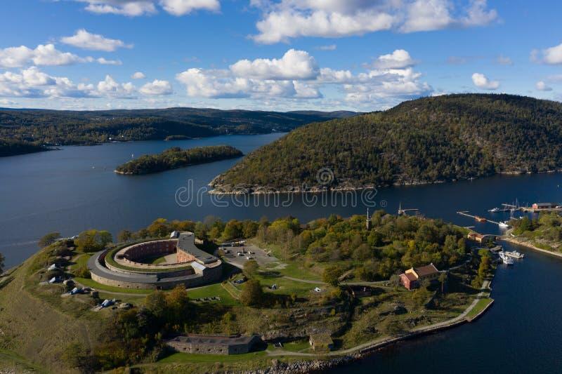 Forteresse d'Oscarsborg dans Oslofjorden, Norvège photos libres de droits